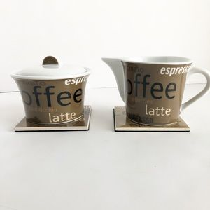 Coffee Sugar Bowl & matching creamer with coasters